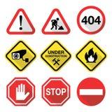 Sinais de aviso - perigo, risco, esforço - projeto liso ilustração royalty free