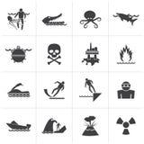 Sinais de aviso pretos para perigos no mar, no oceano, na praia e nos rios ilustração stock