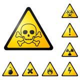 Sinais de aviso/símbolos ilustração do vetor