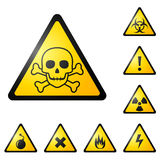 Sinais de aviso/símbolos Fotografia de Stock