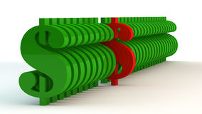 Sinais de dólar da cor verde Imagens de Stock Royalty Free