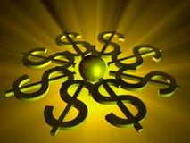 Sinais de dólar dados forma universo Foto de Stock