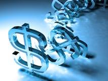 Sinais de dólar de caída Imagens de Stock