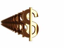 Sinais de dólar do ouro Fotos de Stock Royalty Free