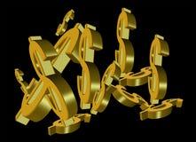 Sinais de dólar do ouro Fotografia de Stock
