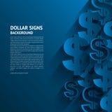 Sinais de dólar do vetor no fundo azul Fotos de Stock Royalty Free