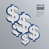 Sinais de dólar do vetor no fundo azul Foto de Stock Royalty Free