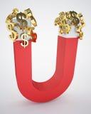 Sinais de dólar magnéticos do pedágio e do ouro Foto de Stock Royalty Free
