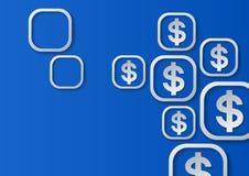 Sinais de dólar no fundo azul Imagem de Stock Royalty Free