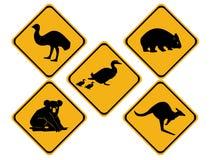 Sinais de estrada australianos dos animais selvagens Foto de Stock Royalty Free