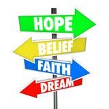 Sinais de estrada da seta do sonho da fé da opinião da esperança futuros Fotografia de Stock Royalty Free