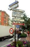 Sinais de estrada de Mônaco imagem de stock