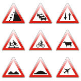 Sinais de estrada europeus isolados Fotografia de Stock