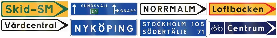 Sinais de estrada informativos usados na Suécia ilustração stock