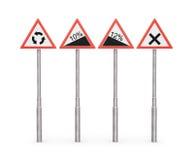 Sinais de estrada, sinais de aviso Imagens de Stock