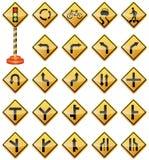 Sinais de estrada, sinais de tráfego, sinais de aviso, transporte, segurança Imagens de Stock