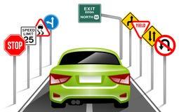 Sinais de estrada, sinais de tráfego, transporte, segurança, curso Foto de Stock
