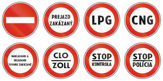 Sinais de estrada usados em Eslováquia ilustração royalty free