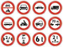 Sinais de estrada usados em Eslováquia Fotografia de Stock