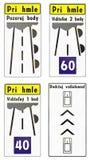 Sinais de estrada usados em Eslováquia Imagem de Stock