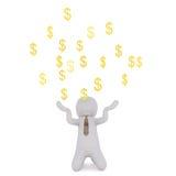 Sinais de Juggling Gold Dollar do homem de negócios dos desenhos animados Imagem de Stock Royalty Free