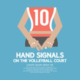 Sinais de mão da parte traseira de jogador de voleibol Fotos de Stock