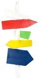 Sinais de madeira ásperos pintados no borne Imagens de Stock