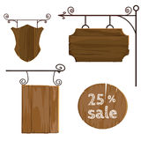 Sinais de madeira ajustados Vetor Imagem de Stock Royalty Free