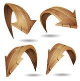 Sinais de madeira das setas dos desenhos animados ajustados ilustração stock