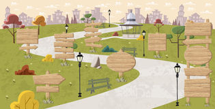 Sinais de madeira no parque Fotos de Stock Royalty Free