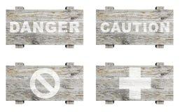 Sinais de madeira velhos ajustados Fotografia de Stock Royalty Free