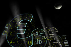 Sinais de moeda como casas Fotos de Stock
