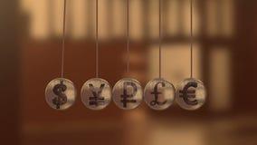 Sinais de moeda, o berço de Newton, bolas de voo ilustração do vetor