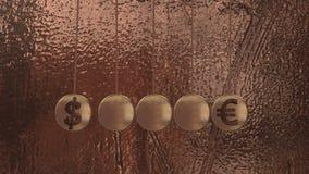 Sinais de moeda, o berço de Newton, bolas de voo ilustração royalty free