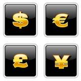 Sinais de moeda pretos Foto de Stock Royalty Free