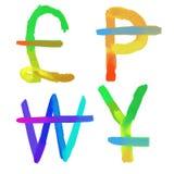 Sinais de moedas do mundo Foto de Stock