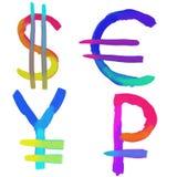 Sinais de moedas do mundo Imagem de Stock Royalty Free