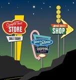 Sinais de néon 2 da borda da estrada retro Foto de Stock Royalty Free