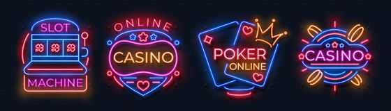Sinais de néon do casino Bandeiras do jackpot do slot machine, quadro de avisos da noite da barra do pôquer, roleta de jogo Néon  ilustração royalty free