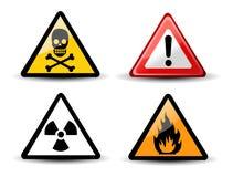 Sinais de perigo de advertência triangulares Fotos de Stock Royalty Free