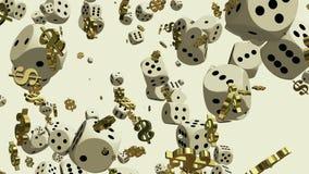 Sinais de queda dos dados e de dólar no branco ilustração stock