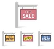 Sinais de Real Estate, placa no polo Fotografia de Stock Royalty Free