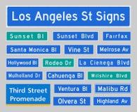 Sinais de rua de Los Angeles Foto de Stock