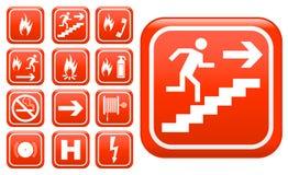 Sinais de segurança do incêndio da emergência de Ed Imagem de Stock Royalty Free