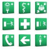 Sinais de segurança verdes - jogo 01 Fotografia de Stock Royalty Free