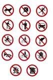Sinais de tráfego Prohibitory - réguas e regulamentos Imagens de Stock
