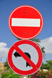 Sinais de tráfego proibitivos. Fotografia de Stock