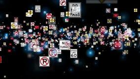 Sinais de tráfego que voam, contra o preto ilustração stock