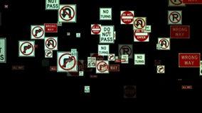 Sinais de tráfego que voam contra o preto, metragem conservada em estoque ilustração royalty free