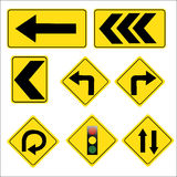 Sinais de tráfego rodoviário amarelos ajustados no fundo branco Fotografia de Stock Royalty Free